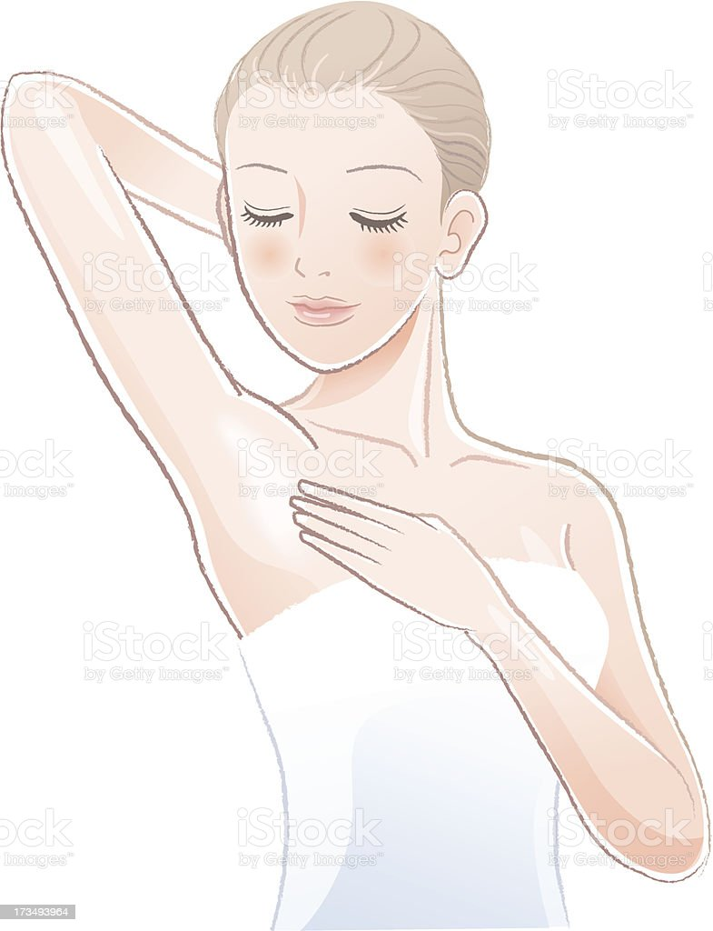 Pretty female gently touching and looking her clean armpit向量藝術插圖