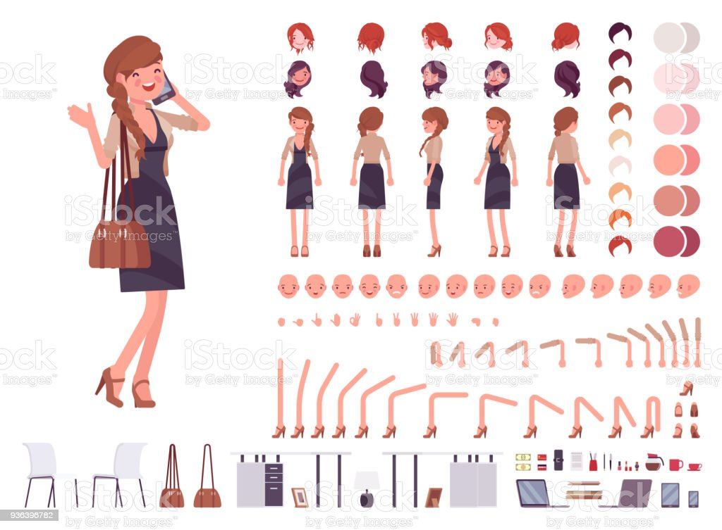 Pretty female office employee character creation set vector art illustration