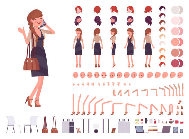 illustrazioni stock, clip art, cartoni animati e icone di tendenza di pretty female office employee character creation set - personaggio