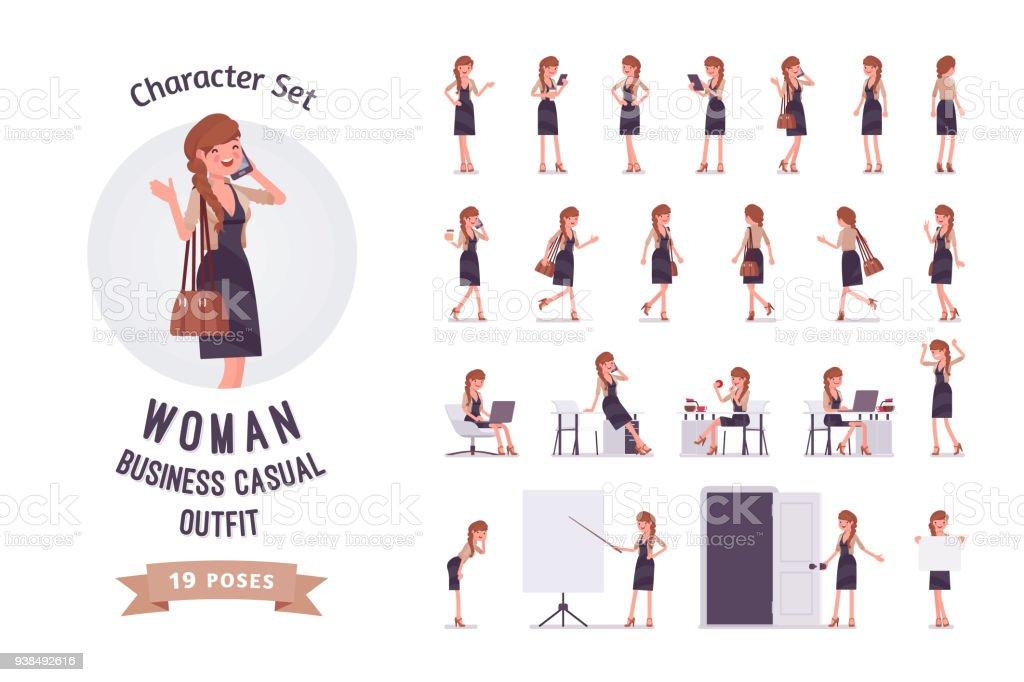 Conjunto de caracteres de ready-to-use de empregado de escritório muito feminino - ilustração de arte em vetor
