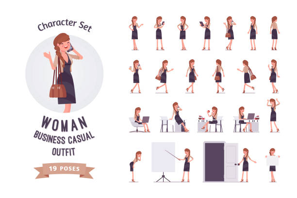 bildbanksillustrationer, clip art samt tecknat material och ikoner med ganska kvinnliga office medarbetare redo-till-använda teckenuppsättning - fritidskläder