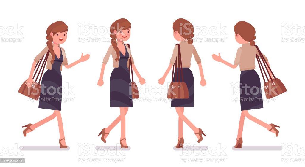 歩いて実行しているきれいな女会社員 1人のベクターアート素材や画像を