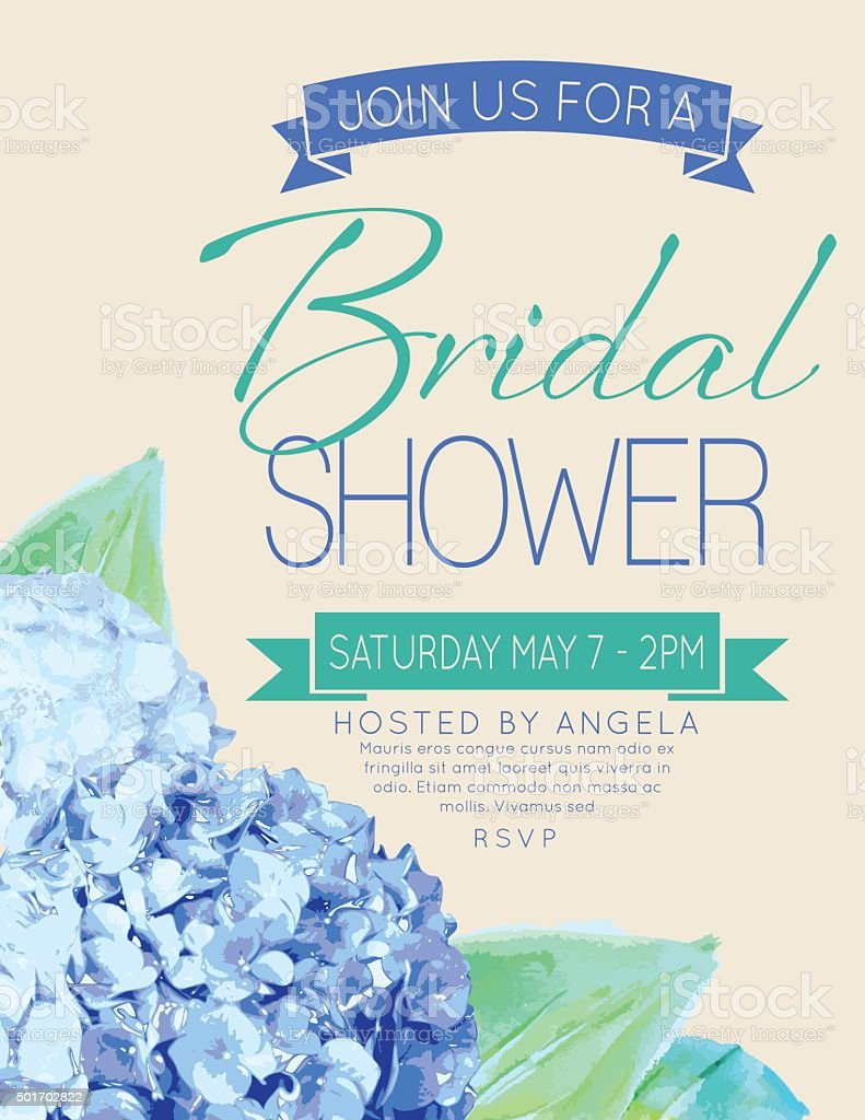 Pretty feminine Hydrangea Bridal Shower Party Invitation Template vector art illustration