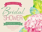 Pretty feminine Hydrangea bridal shower Party Invitation Template. There is a room for text. Ideal for bridal or baby showers,wedding invitations, garden party or tea parties. Soft feminine colors.