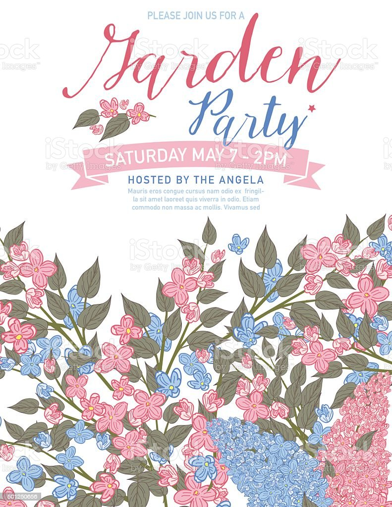 Pretty Feminine Pink And Blue Garden Party Invitation Template ...