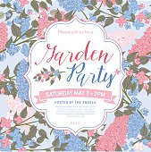 Pretty feminine Pink and Blue Garden Party Invitation Template. Branches of lilacs are arranged in groups. There is a section for text. Ideal for bridal or baby showers,wedding invitations, garden party or tea parties. Soft feminine colors.