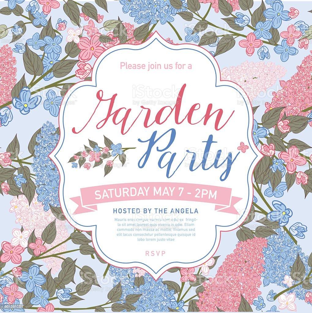 Weibliche Rosa und Blau Garten-Party-Einladung Vorlage – Vektorgrafik