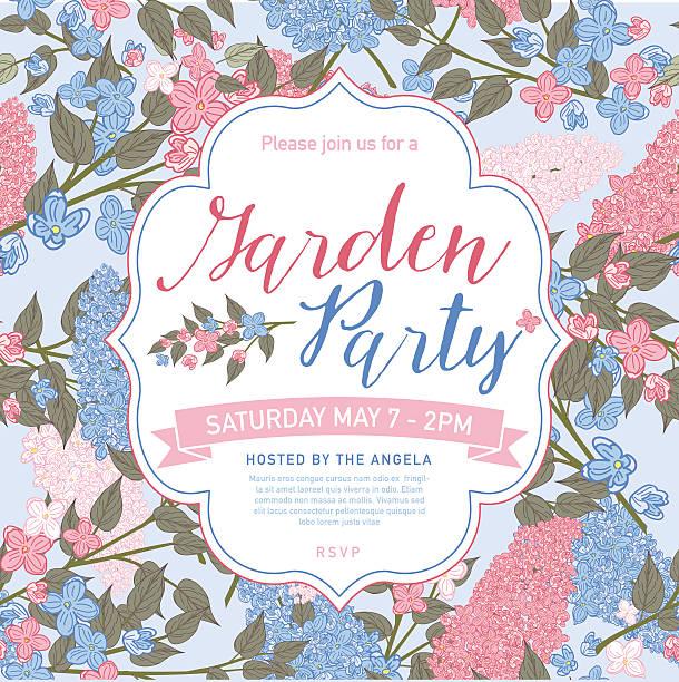 かわいらしくフェミニンなピンクとブルーのガーデンパーティの招待状テンプレート - ガーデンパーティ点のイラスト素材/クリップアート素材/マンガ素材/アイコン素材