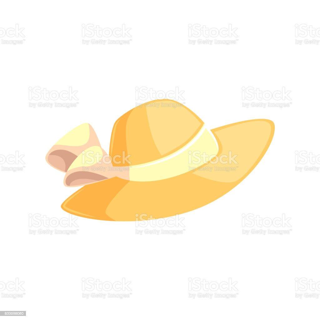 Pretty feminine straw summer hat with wide brims vector art illustration
