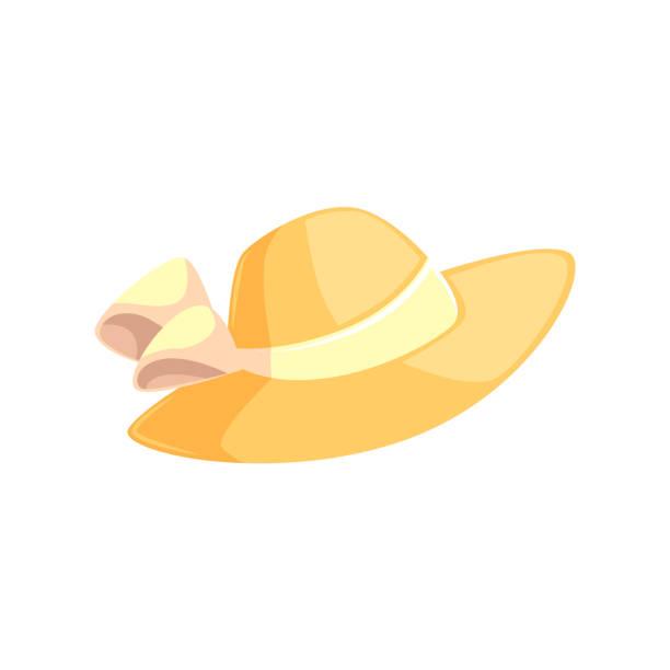 sehr feminine stroh sommerhut mit breiten krempen - hauben stock-grafiken, -clipart, -cartoons und -symbole