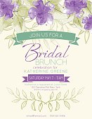 Watercolor feminine bridal shower Party Invitation Template. There are purple watercolour flowers and leaves. There is a room for text. Ideal for bridal or baby showers,wedding invitations, garden party or tea parties. Soft feminine colors.