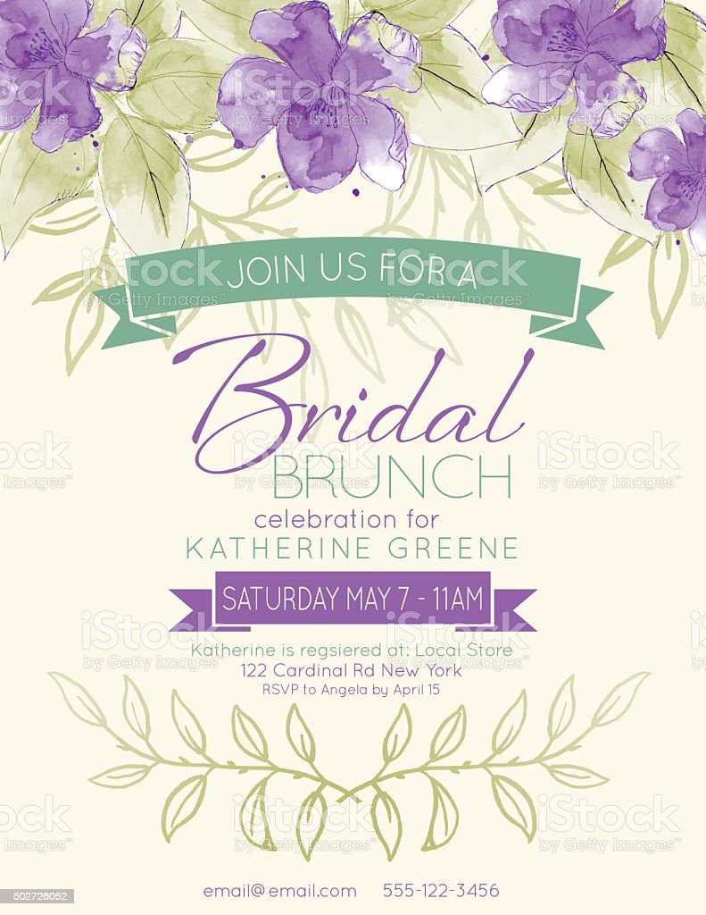 Pretty feminine Watercolor Flowers Bridal Shower Invitation Template vector art illustration