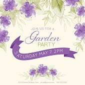 Watercolor feminine Garden Party Invitation Template. There are watercolour leaves and purple flowers. There is a room for text. Ideal for bridal or baby showers,wedding invitations, garden party or tea parties. Soft feminine colors.