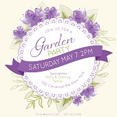 Watercolor feminine Garden Party Invitation Template. There are purple watercolour flowers and leaves. There is a room for text. Ideal for bridal or baby showers,wedding invitations, garden party or tea parties. Soft feminine colors.