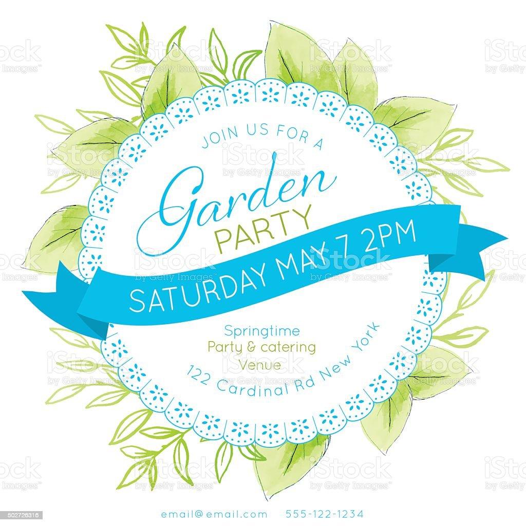 Weibliche Aquarell Blumen Garten-Party-Einladung Vorlage – Vektorgrafik