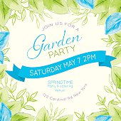 Watercolor feminine Garden Party Invitation Template. There are watercolour leaves is soft blue and green. There is a room for text. Ideal for bridal or baby showers,wedding invitations, garden party or tea parties. Soft feminine colors.