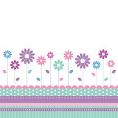 pink, violet, purple, blue and green flowers greeting card with colorful striped and polka dot border on white background
