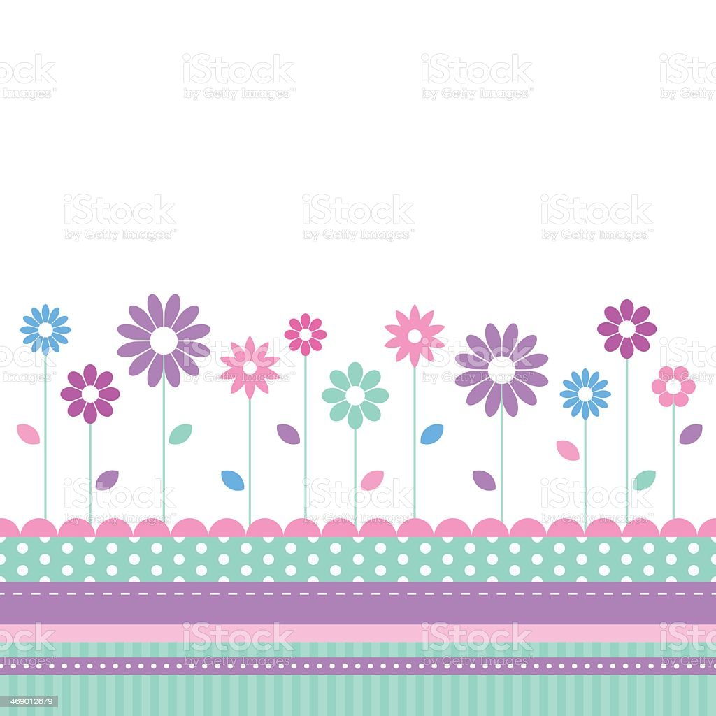 Pretty floral meadow greeting card vector art illustration
