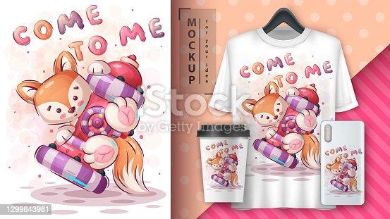 Pretty fox- poster and merchandising
