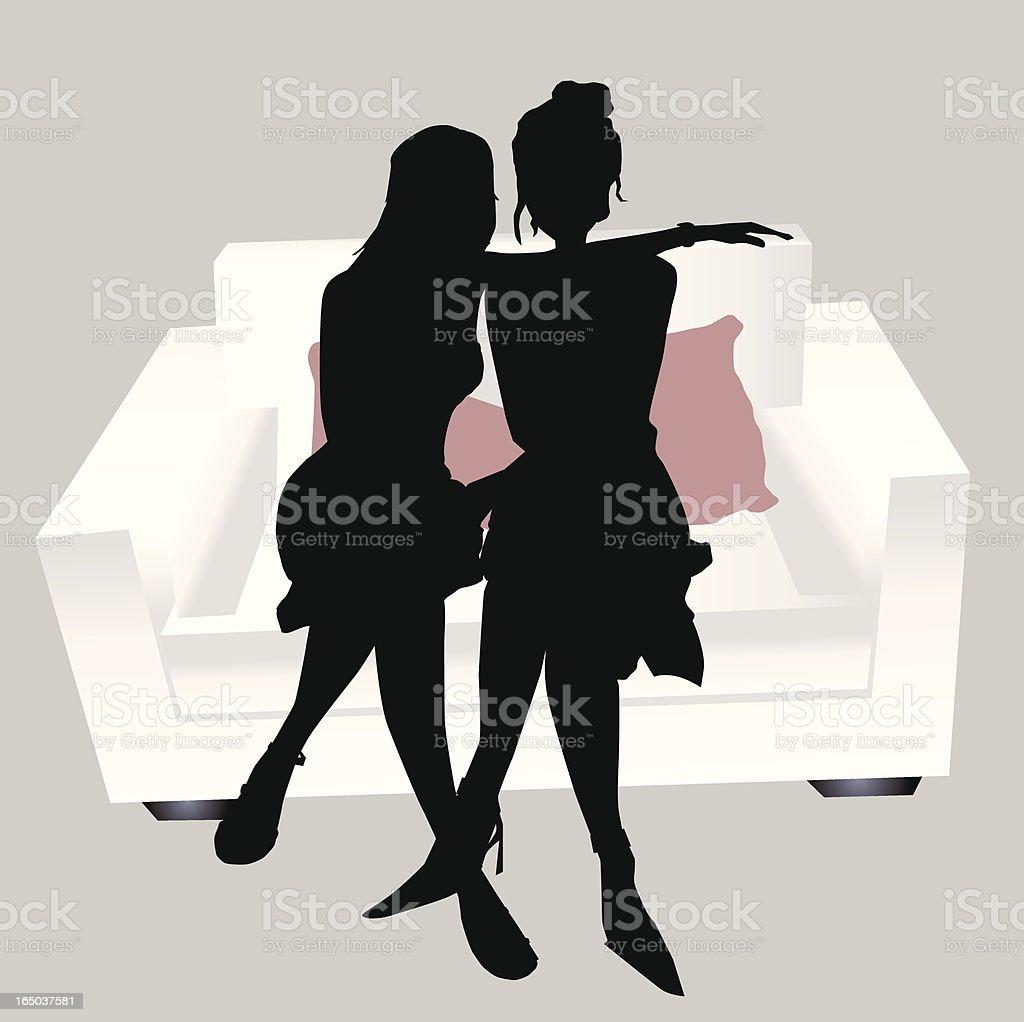Jolie amis Silhouette - Illustration vectorielle