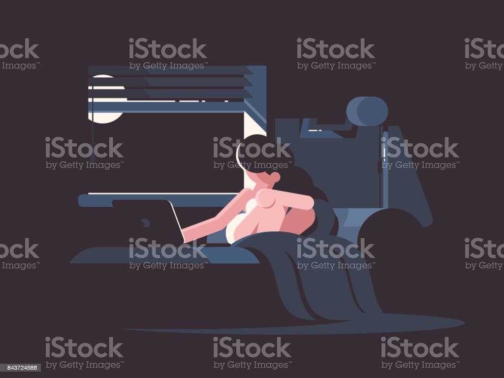 Pretty frustrated girl in bed vector art illustration