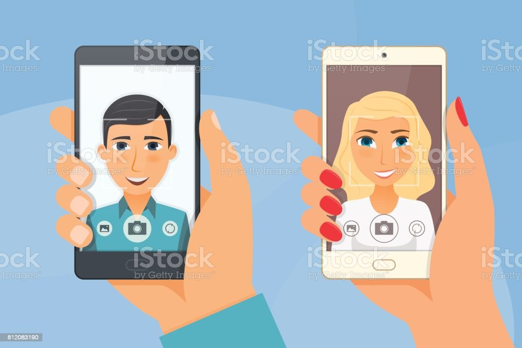 Pretty girl and young boy takes selfie using a smartphone vector art illustration