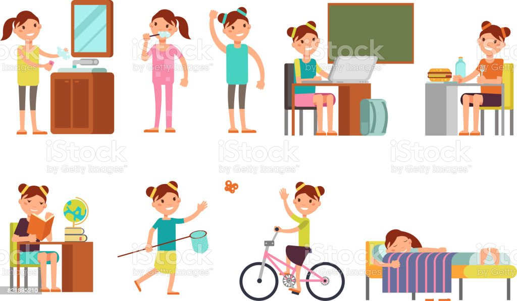Pretty girl child daily schedule vector illustration vector art illustration