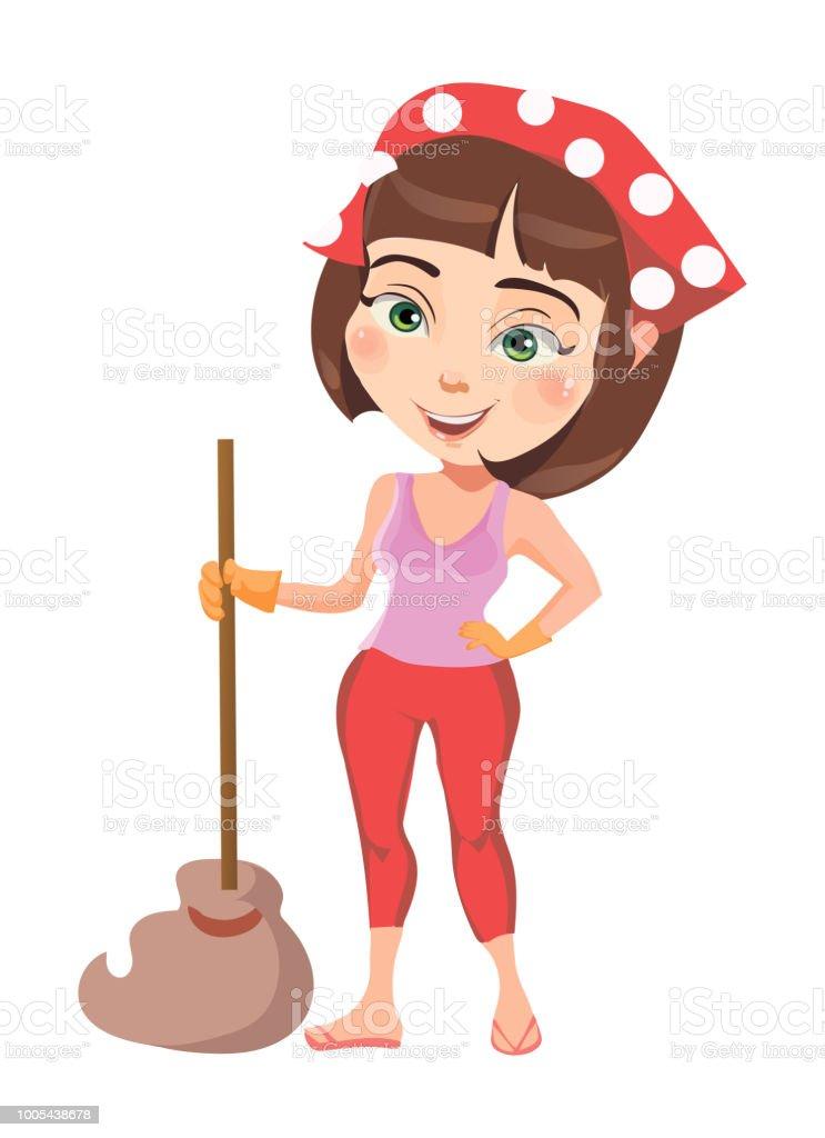 pretty girl cleans the house vector illustration stock vector art