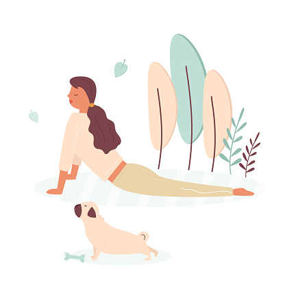Pretty girl doing yoga with pug dog. Vector colorful illustration in a flat style. Pet lover
