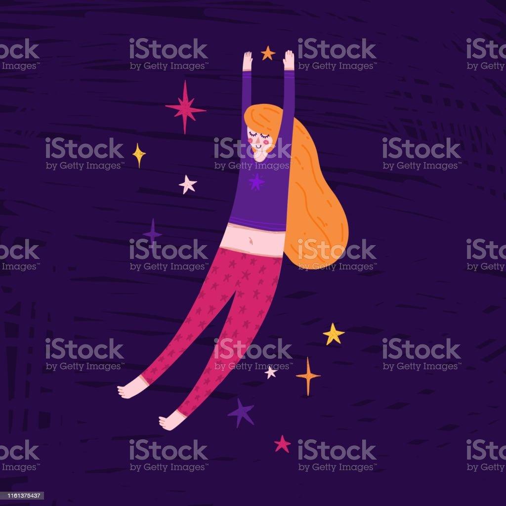 9643359ff7f11e Vetores de Menina Bonita Que Flutua No Espaço Ilustração Handdrawn ...