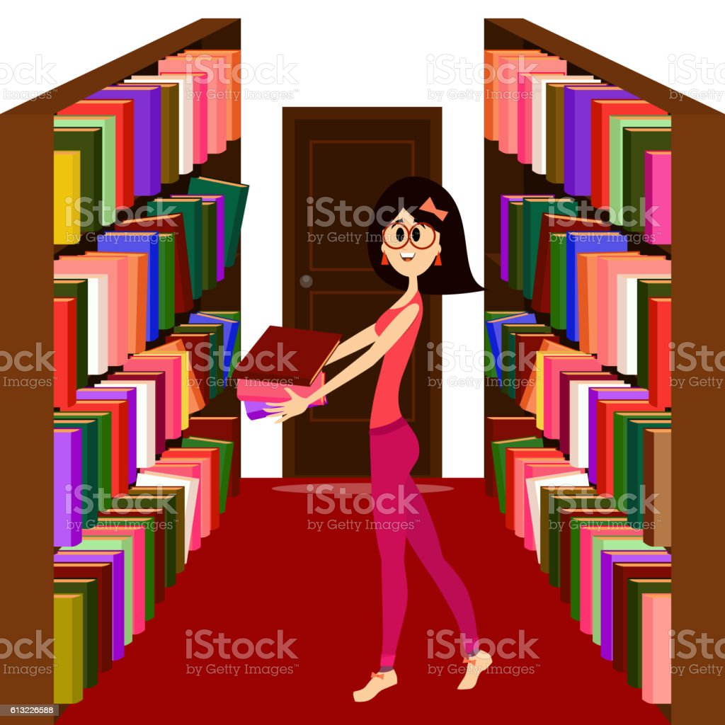 Pretty girl holding books in a library. - ilustración de arte vectorial