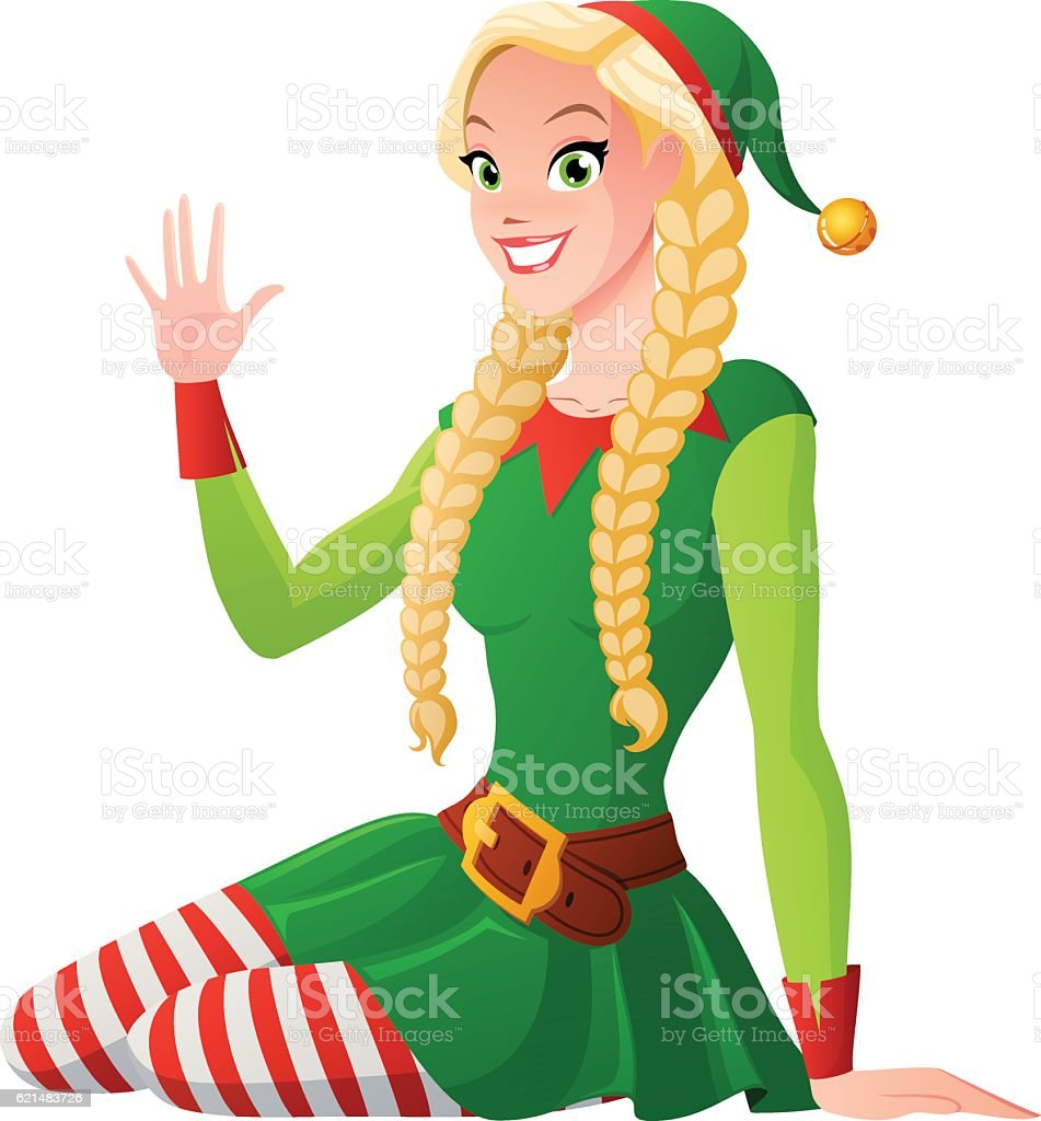 pretty in christmas elf costume greeting vector illustration