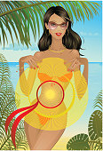 vector pretty girl in swimsuit on the beach
