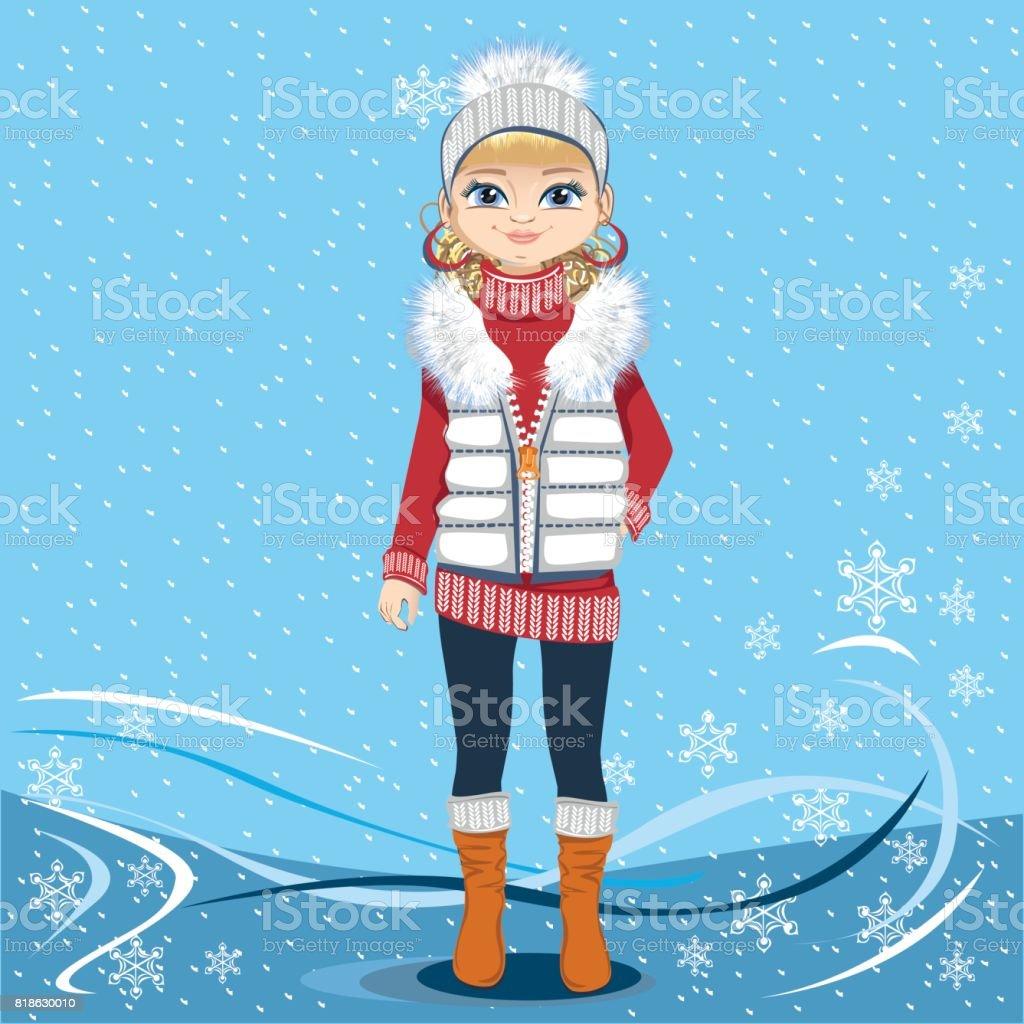 冬の背景にきれいな女の子 1人のベクターアート素材や画像を多数ご用意