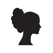 Pretty girl profile. Woman face silhouette. Portrait bride face silhouette