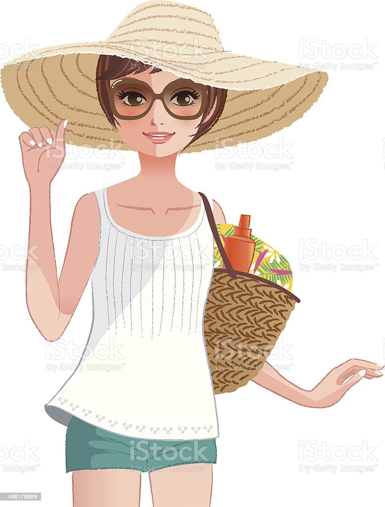 Pretty girl wearing a wide brimmed straw hat vector art illustration