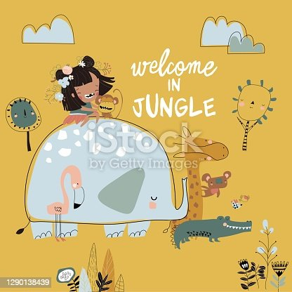 istock Pretty girl with cartoon jungle animal. Happy friends 1290138439