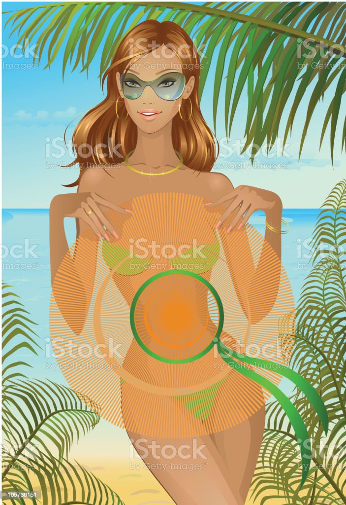 pretty girl with hat at the beach royalty-free stock vector art