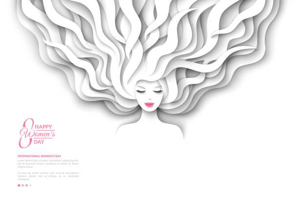 ホワイト ペーパーの髪のきれいな女の子 - 美容室 3d点のイラスト素材/クリップアート素材/マンガ素材/アイコン素材