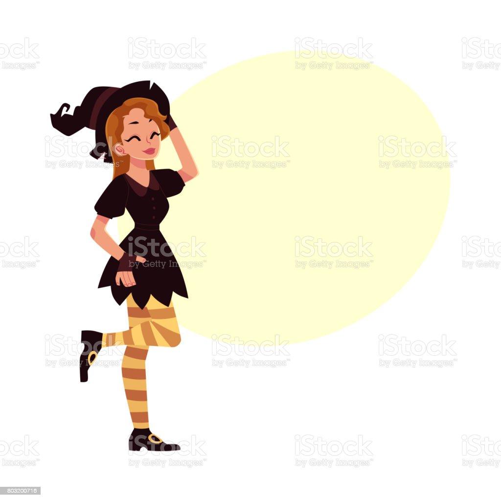 Chica Guapa Mujer Con Sombrero Puntiagudo Traje Del Partido De