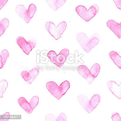 Beautiful original hearts in shades of pink painted carelessly by hand by watercolor paint. Seamless pattern with amazing natural marks and uneven distribution of paint.  Zoom to see the details. VECTOR ILLUSTRATION - enlarge the image without lost the quality.  Minimalistic love pattern background.