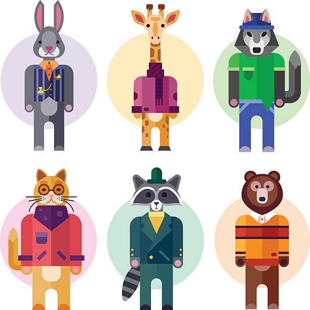 schöne menschliche-look in verschiedenen tieren passt. - giraffenkostüm stock-grafiken, -clipart, -cartoons und -symbole
