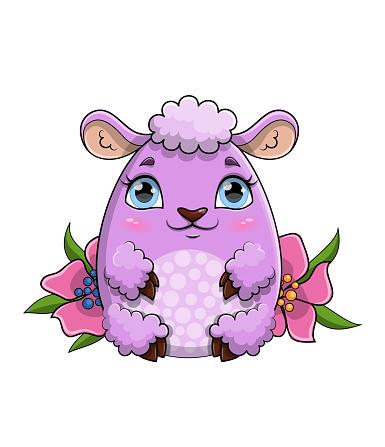 Pretty little purple sheep sitting amongst flowers in spring