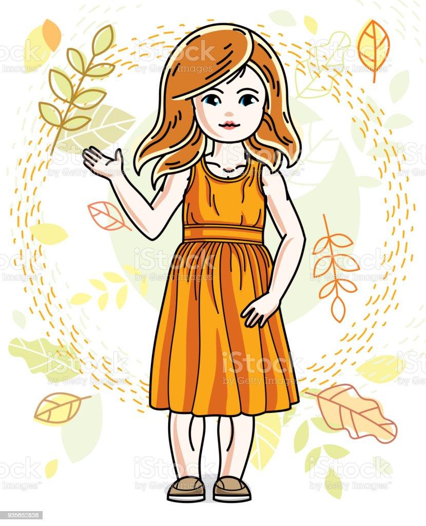かわいい赤毛の女の子秋風景の背景の上に立ってさまざまなカジュアルな服
