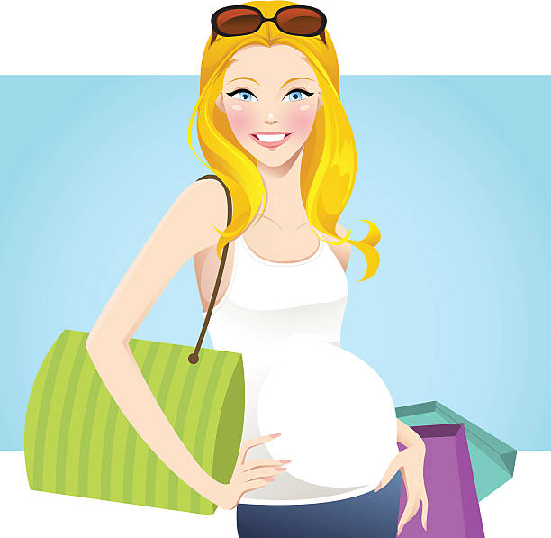 pretty mom to be - chihhang stock illustrations