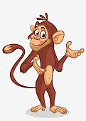 Pretty monkey cartoon. Vector illustration of chimpanzee monkey outlined