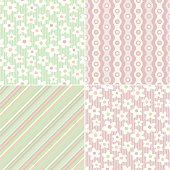 Four coordinating seamless tiling patterns. This item uses global color swatches for easy changes to the color scheme.