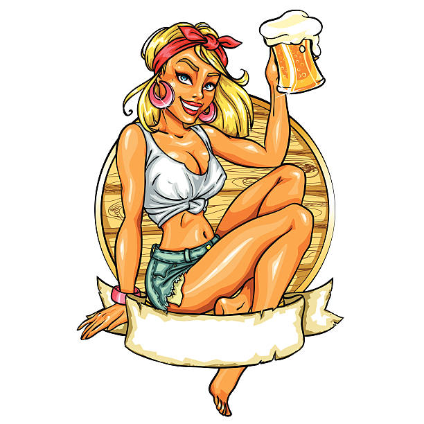 Pretty Pin Up Girl holding beer mug Pretty Pin Up Girl holding beer mug. Vector label with space for text. wet clothing women t shirt stock illustrations