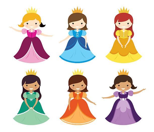 illustrazioni stock, clip art, cartoni animati e icone di tendenza di pretty pretty princesses - principessa