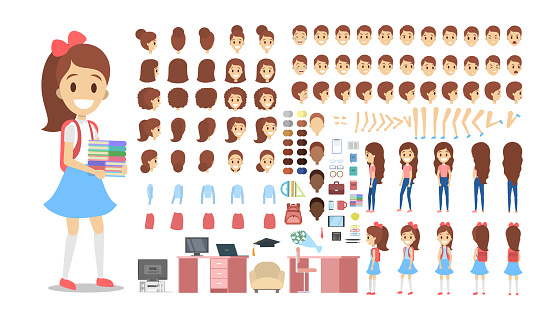 Pretty school kid female character set for animation with various views, hairstyles, emotions,